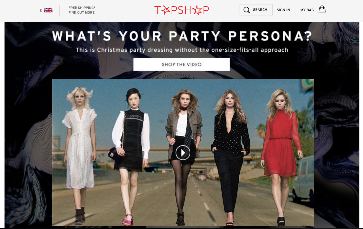 Topshop website screenshot