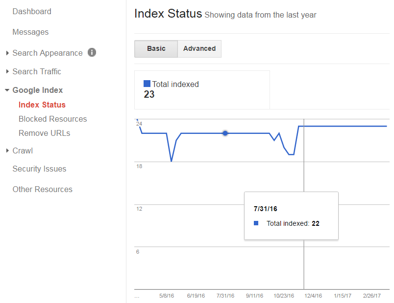 Indexed pages Google Search Console