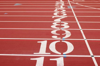 A view of a race track with the numbers 1 to 10