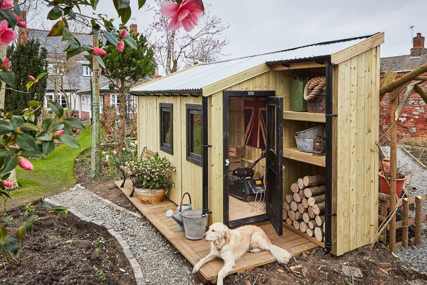 Shed with dog sat in front