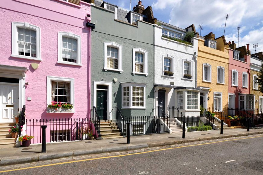house painted different colours on a London Street
