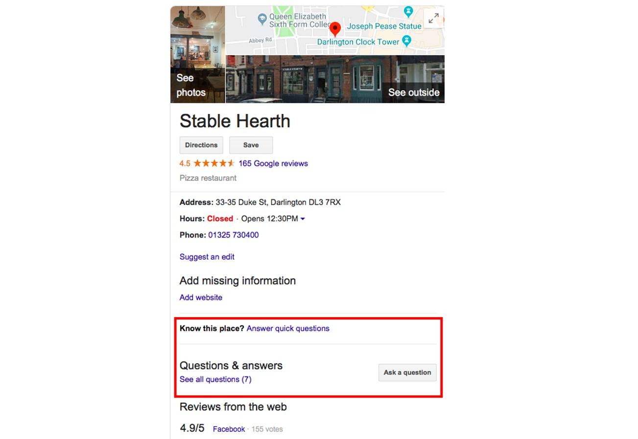 Google My Business questions and answers