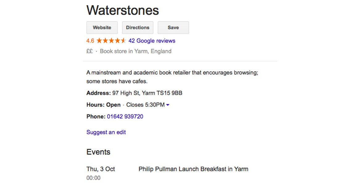 Waterstones Google My Business posts