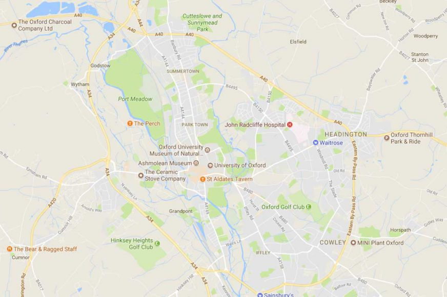 A Google map of Oxford