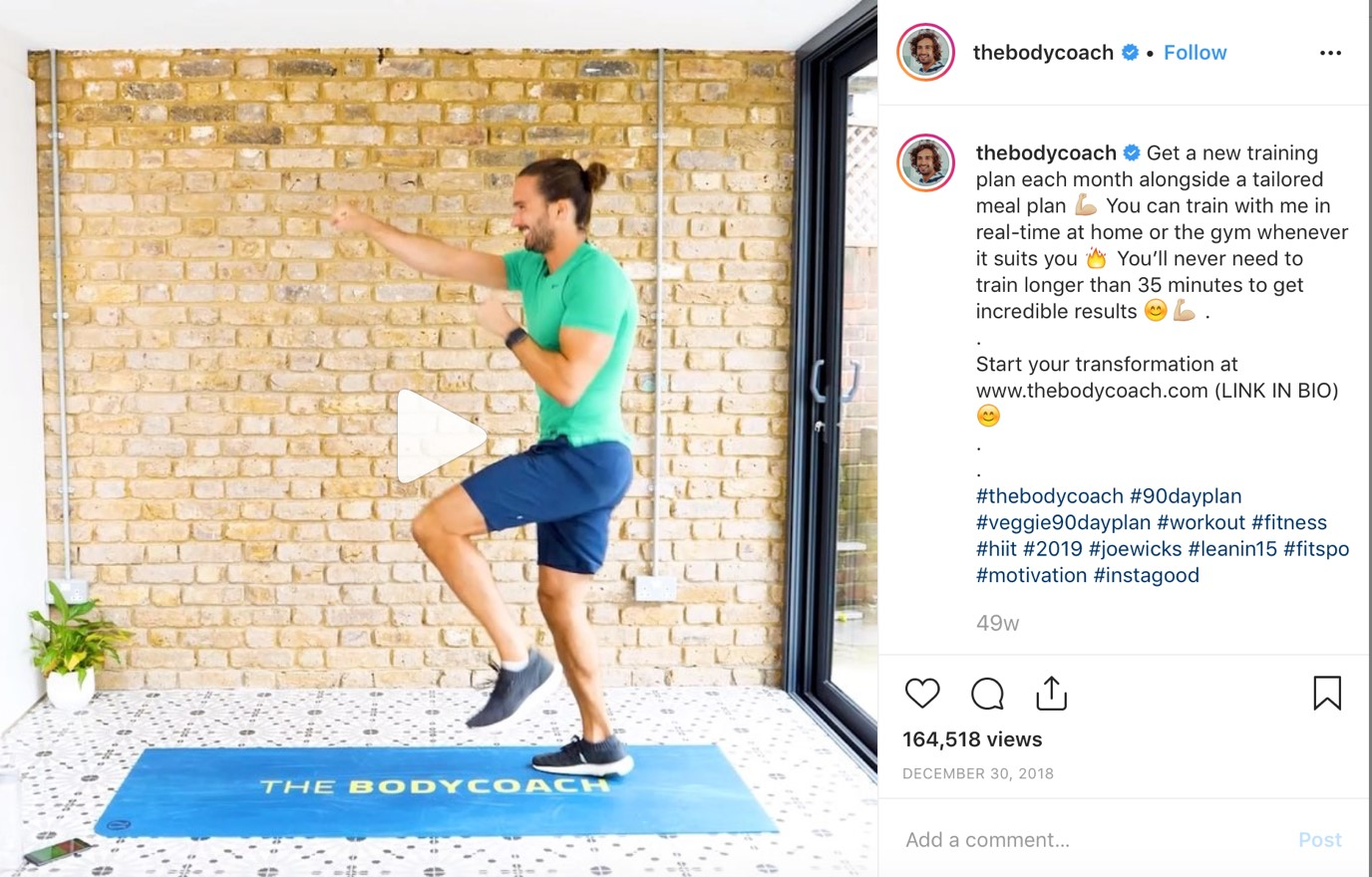 Joe Wicks Instagram post