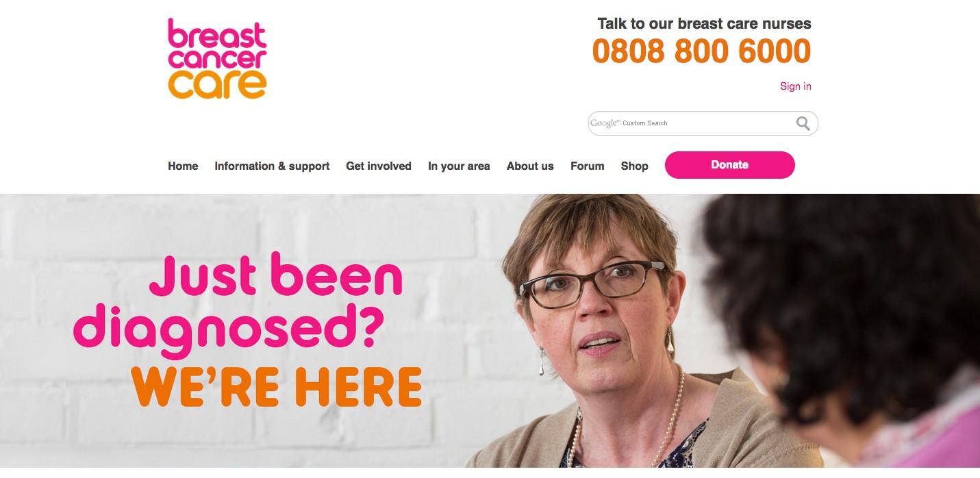 Screenshot of breast cancer care website