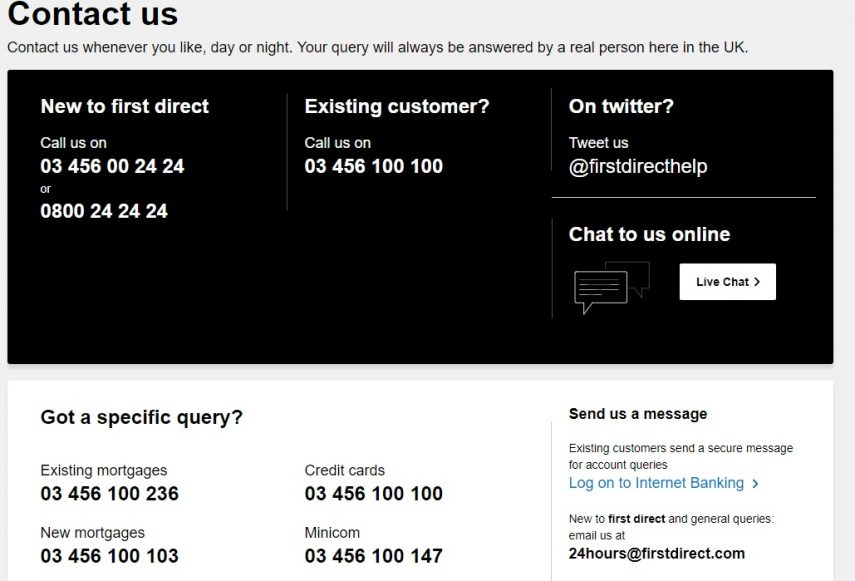First Direct customer service webpage