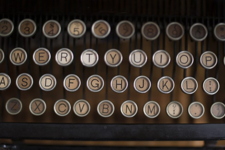 Looking down on an old 1940s typewriter
