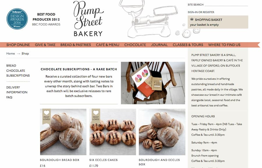 Pump Street Bakery website