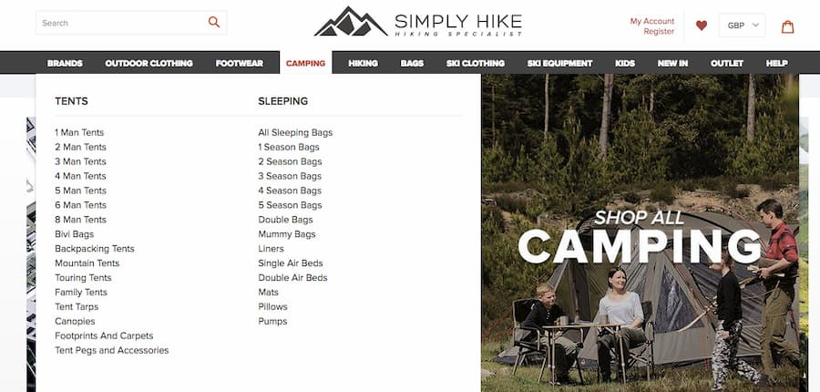 Simply Hike camping website