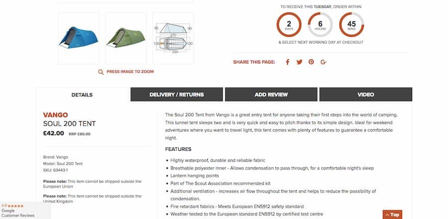 Soul 200 Tent details