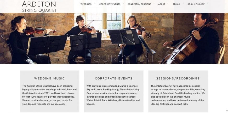 Ardeton String Quartet Services Page - Weddings, corporate events and sessions and recordings