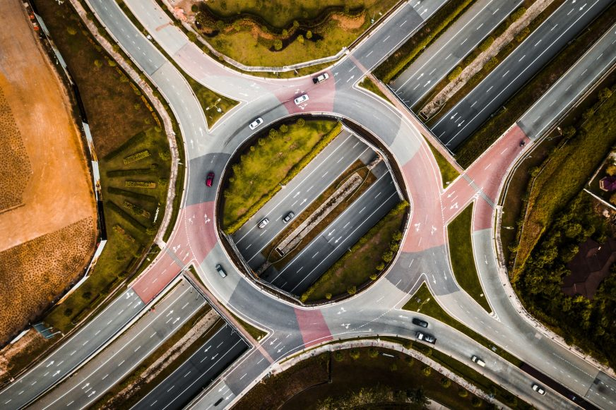 birds eye view of a roundabout