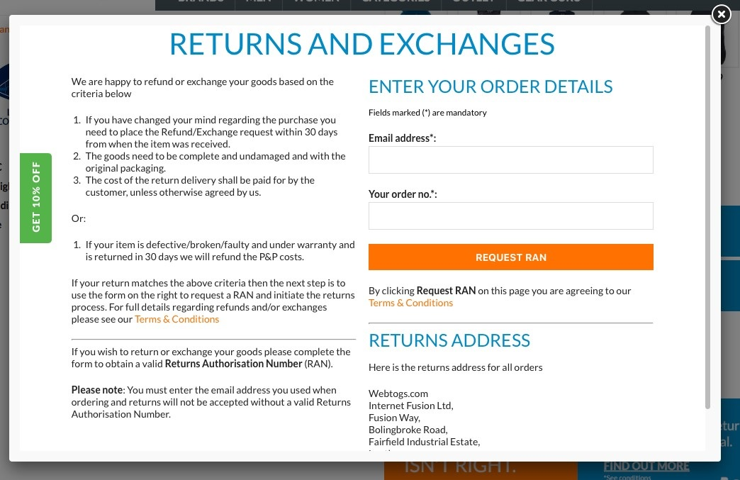 returns and exchanges webpage