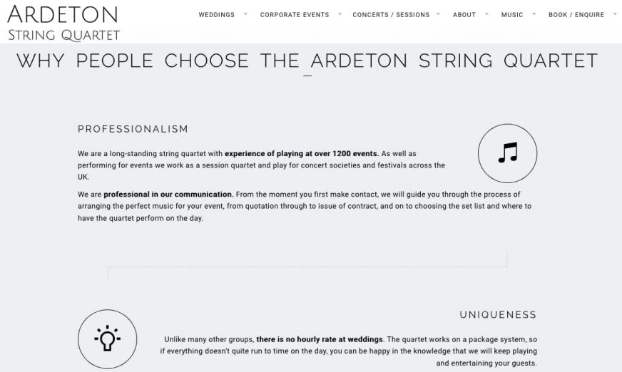 Why people choose The Ardeton String Quartet page