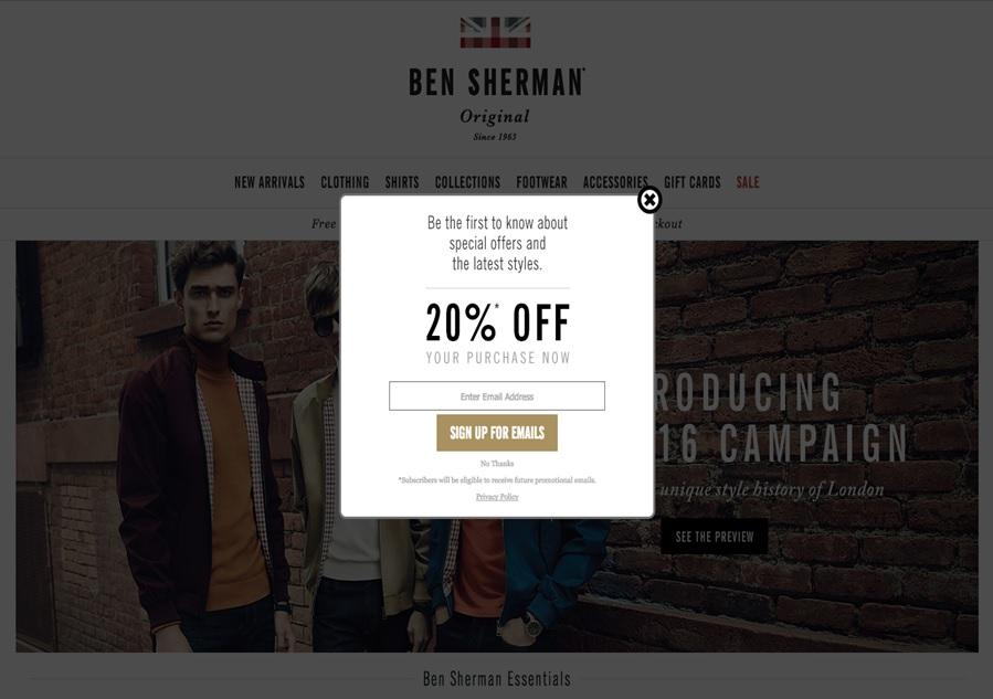 Ben Sherman newsletter signup
