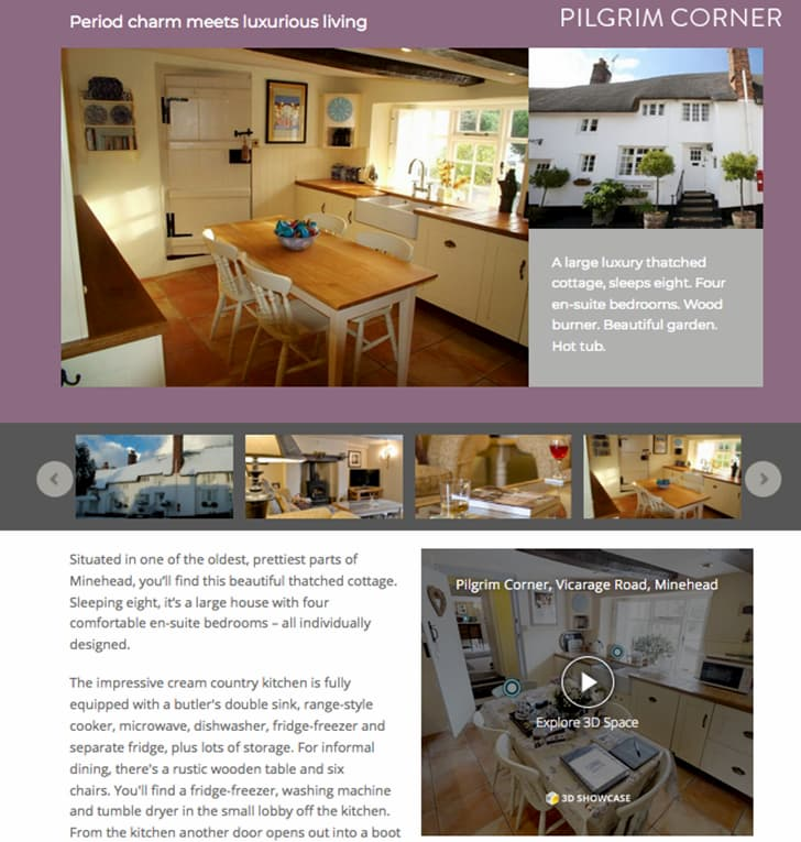 Exmoor character cottages pilgrim corner website screenshot