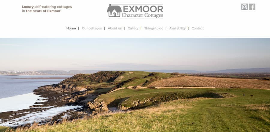 Exmoor character cottages website screenshot