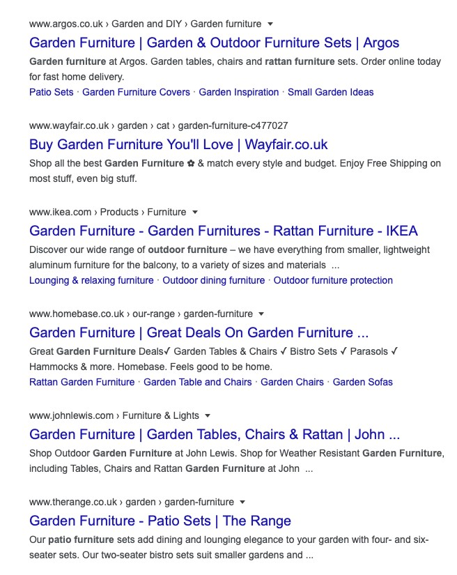 Garden Furniture search results