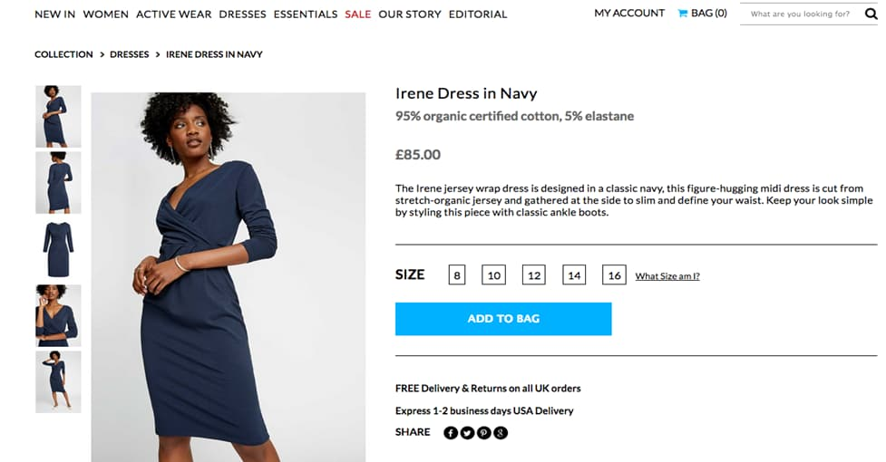 People Tree Navy Dress