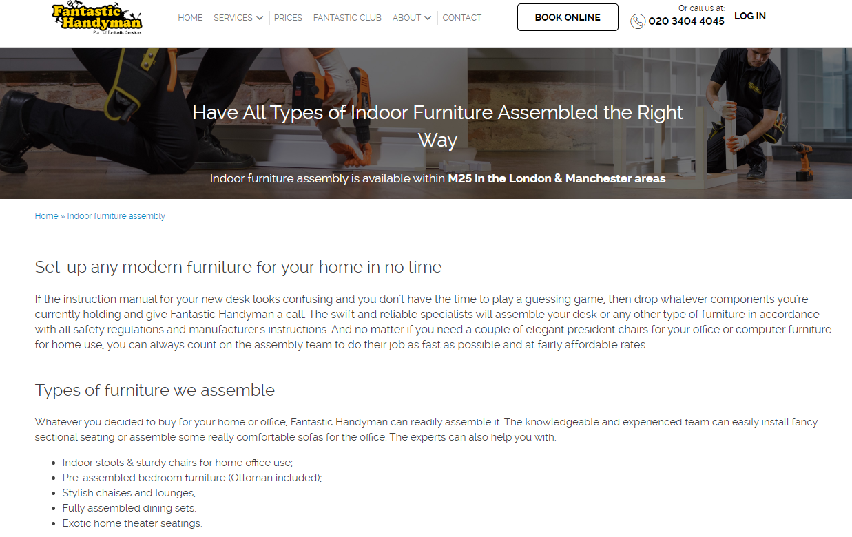 Fantastic Handyman website screenshot