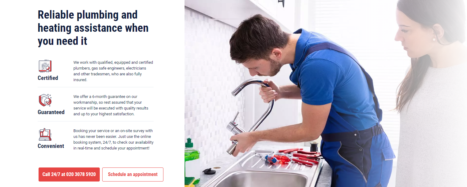 My Plumber website screenshot
