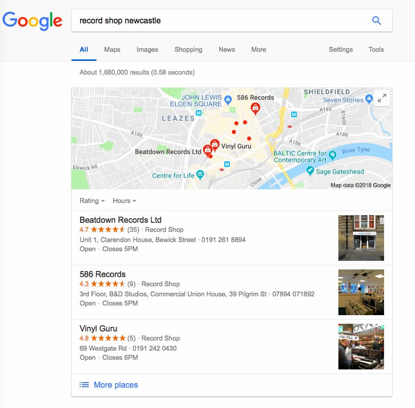 Record shop Google Maps listing