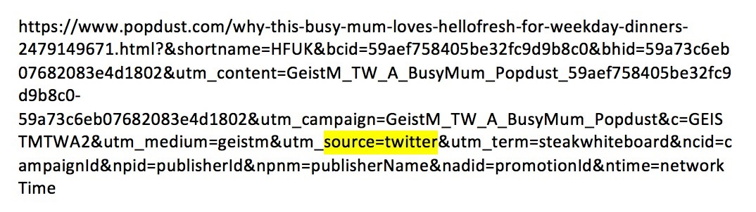 URL tracking link