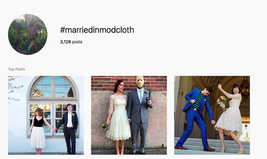 Married in Mod Cloth Instagram Feed