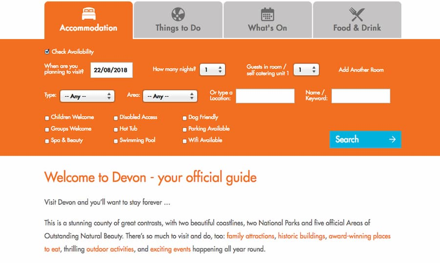 Screenshot of Visit Devon planner