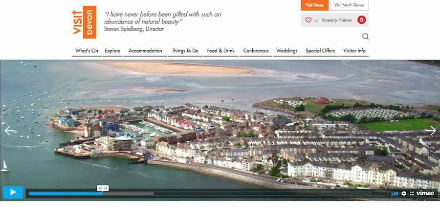 Screenshot from Visit Devon website