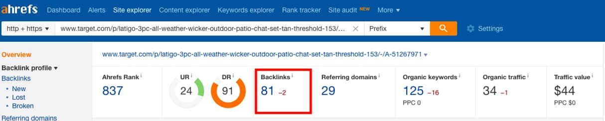 Ahrefs backlinks screenshot