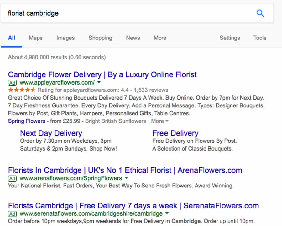 Screenshot of Google results for Cambridge Flourists