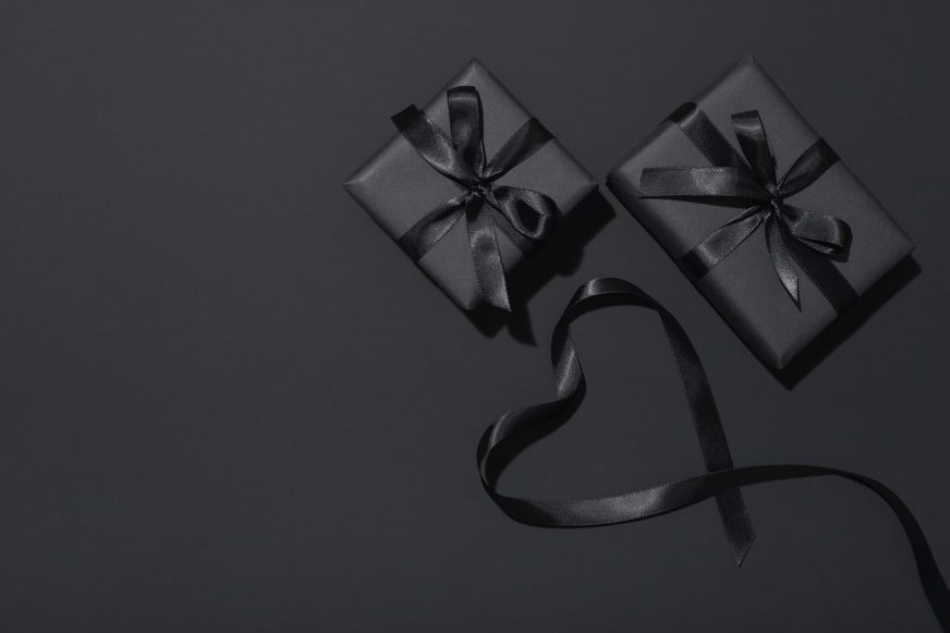Greyscale image of two presents