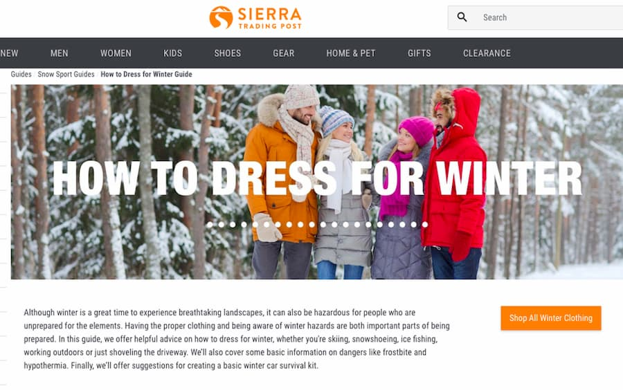 Sierra Trading post website