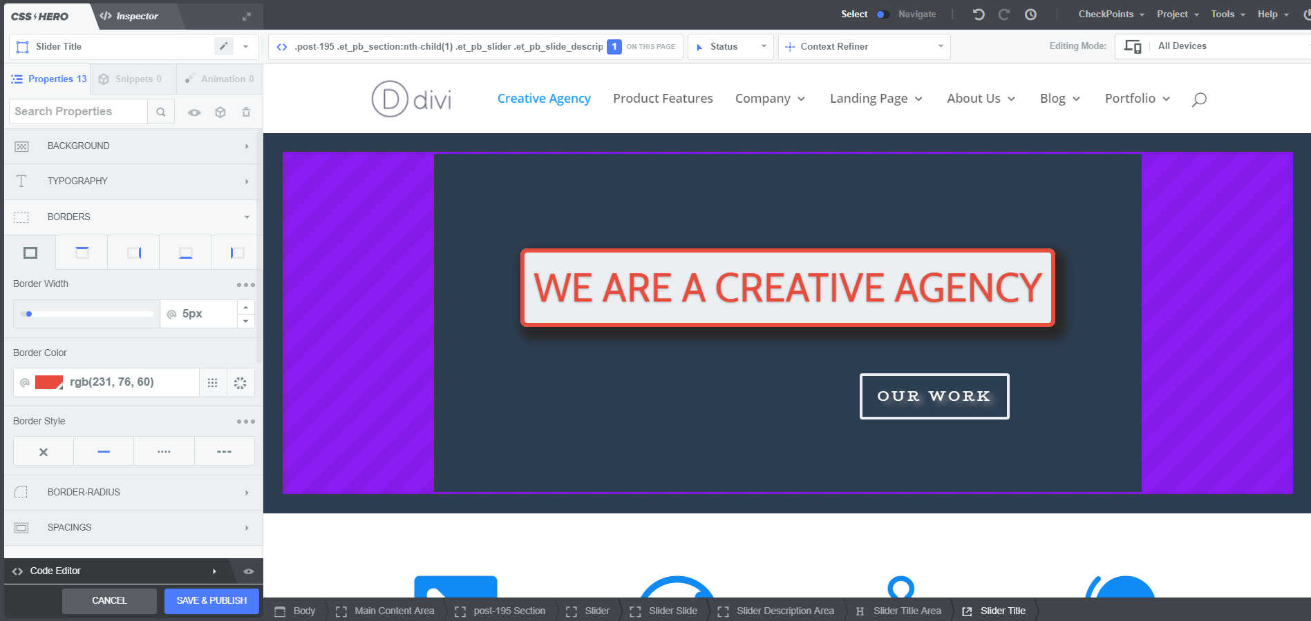 screenshot of wordpress home page