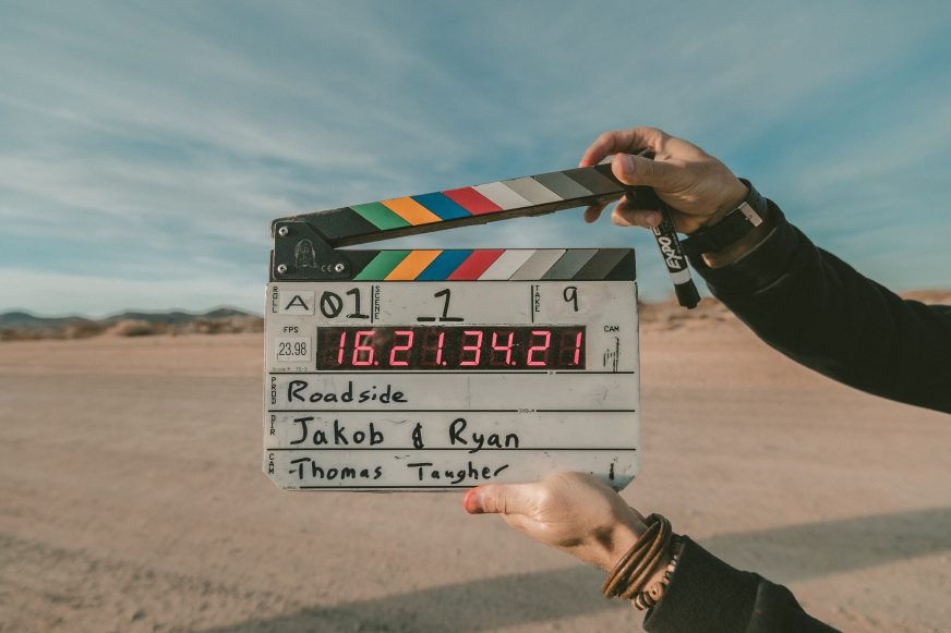 video clapper board against desert background