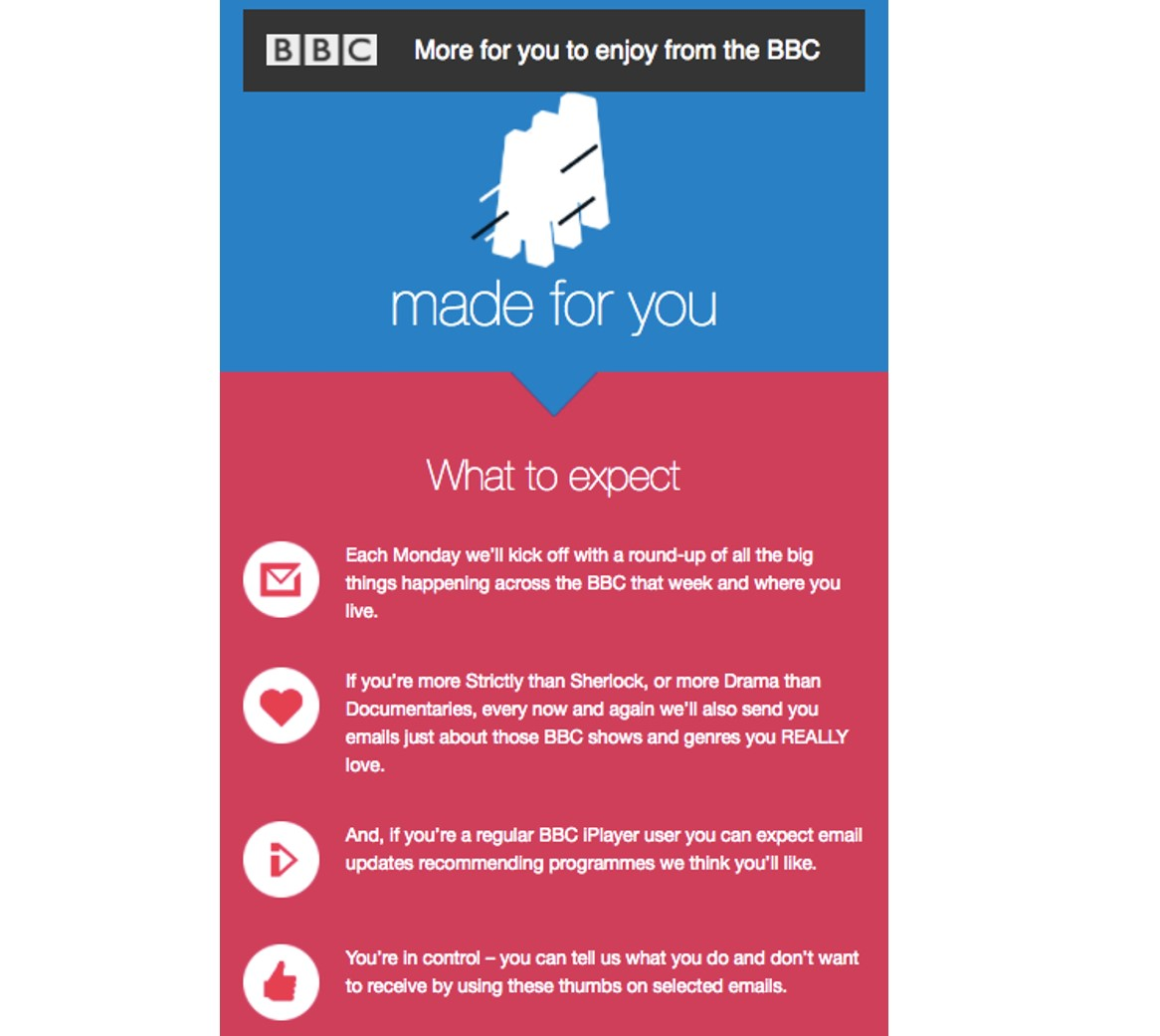 BBC welcome email