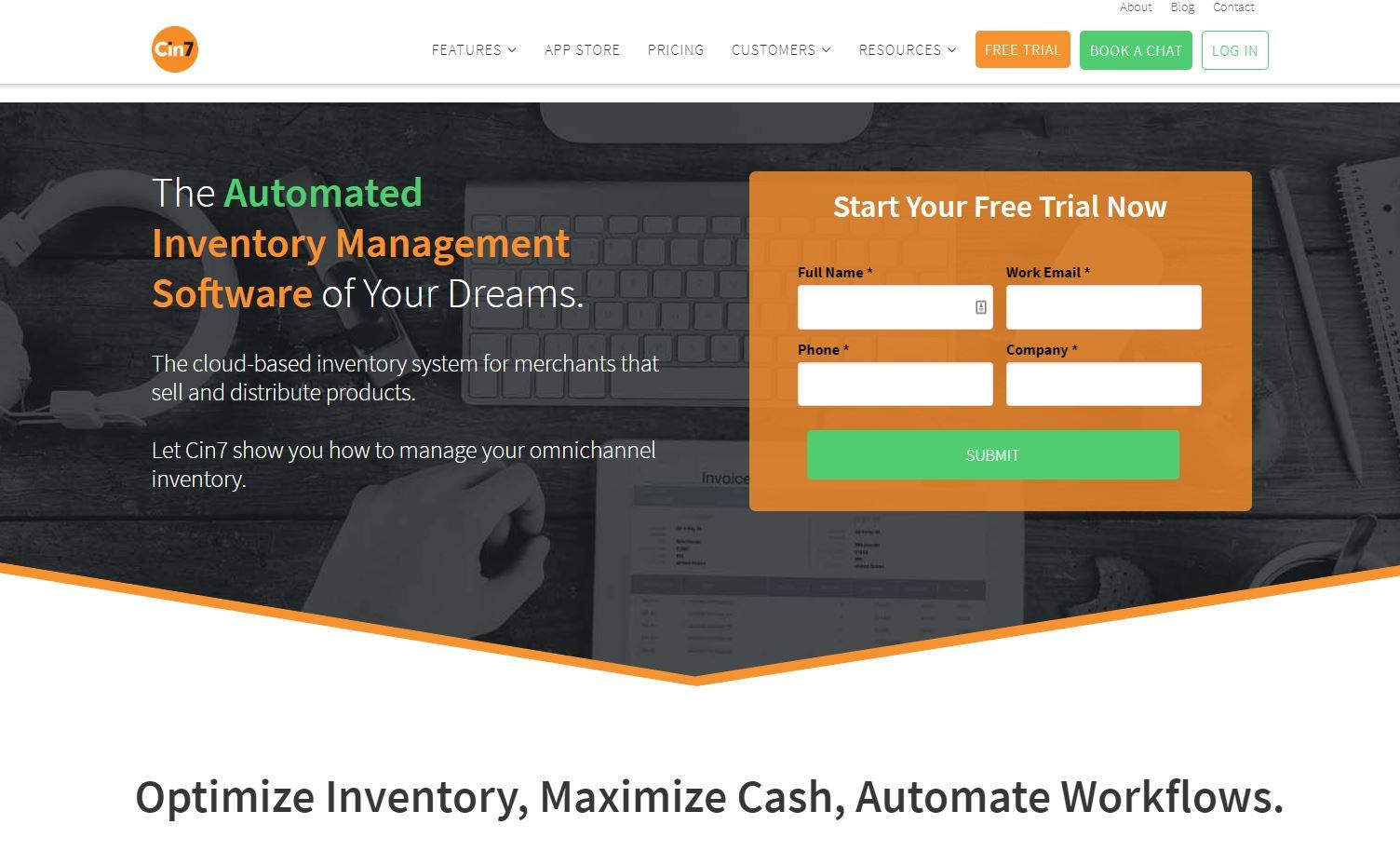 Screenshot of Cin7 website