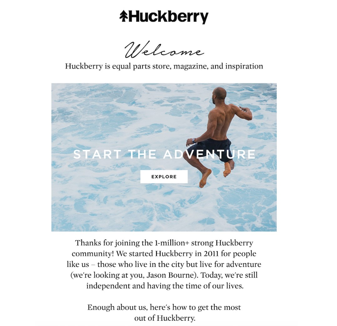 Huckberry welcome email