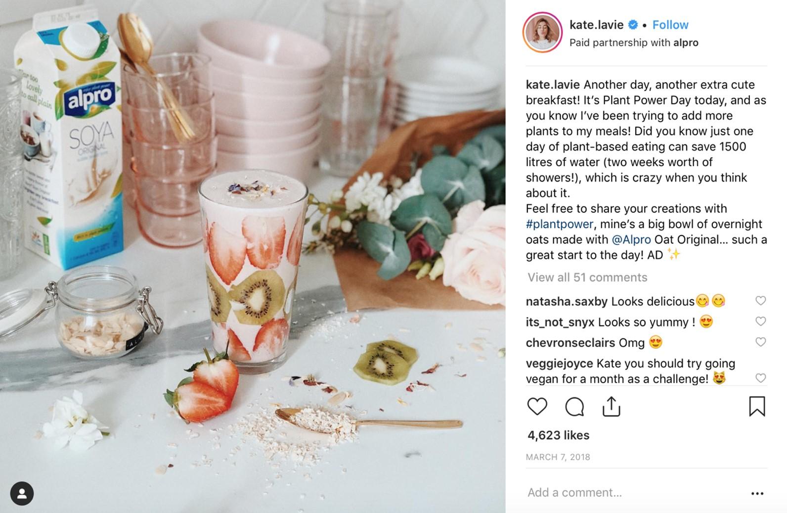 screenshot of influencer post on Instagram