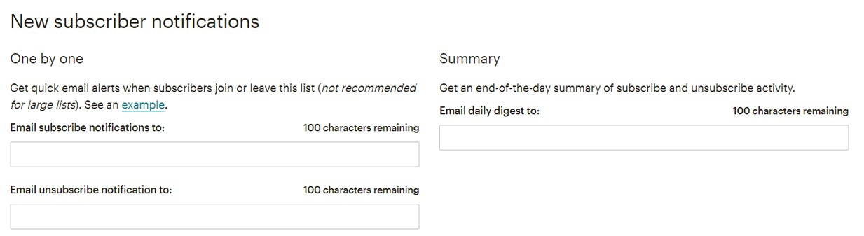 Mailchimp new subscriber notifications