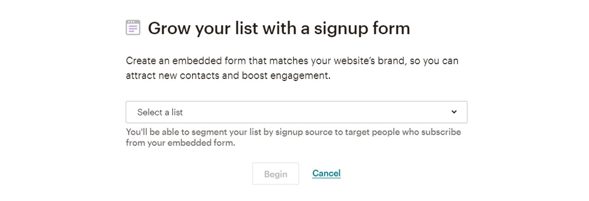 Mailchimp sign-up form screenshot