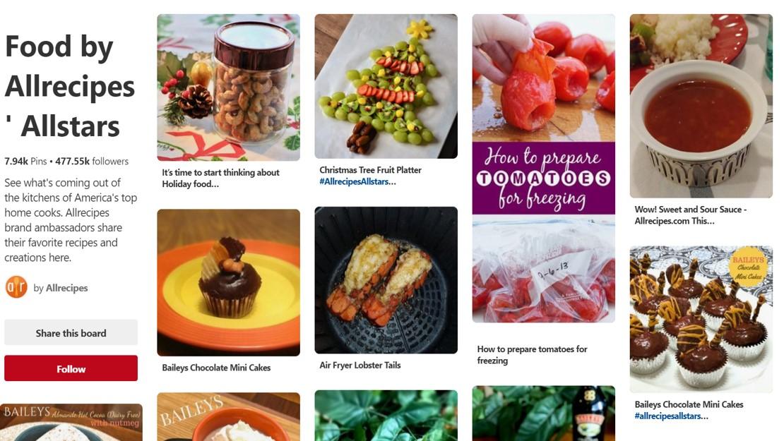 Screenshot of Allrecipes board on Pinterest