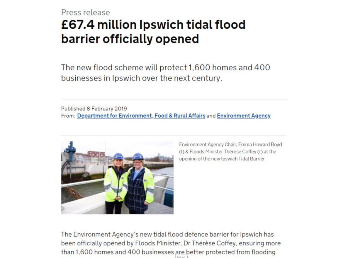 Screenshot of press release on Ipswich tidal flood barrier