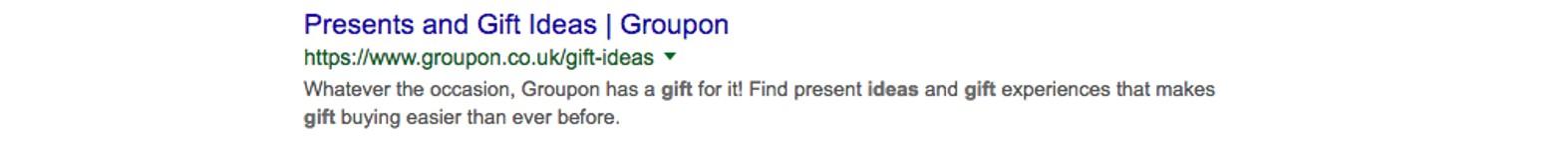 screenshot of meta description from Groupon