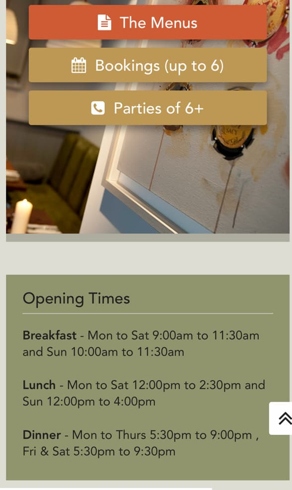 Eagle Farringdon opening hours screenshot