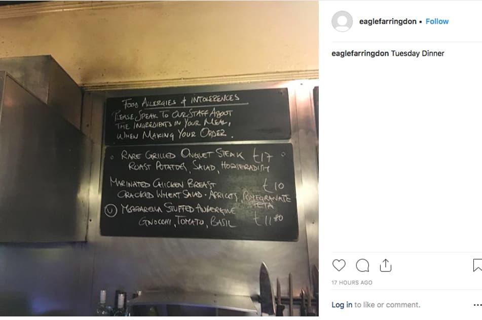 Eagle Farringdon kitchen blackboard menu
