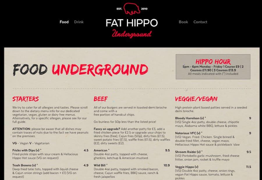 Fat Hippo menu screenshot