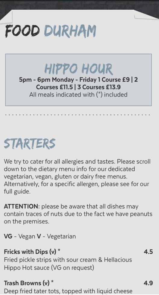 Food Durham mobile menu screenshot